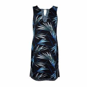 WHBM Black Palm Print Sleeveless Sheath Dress M